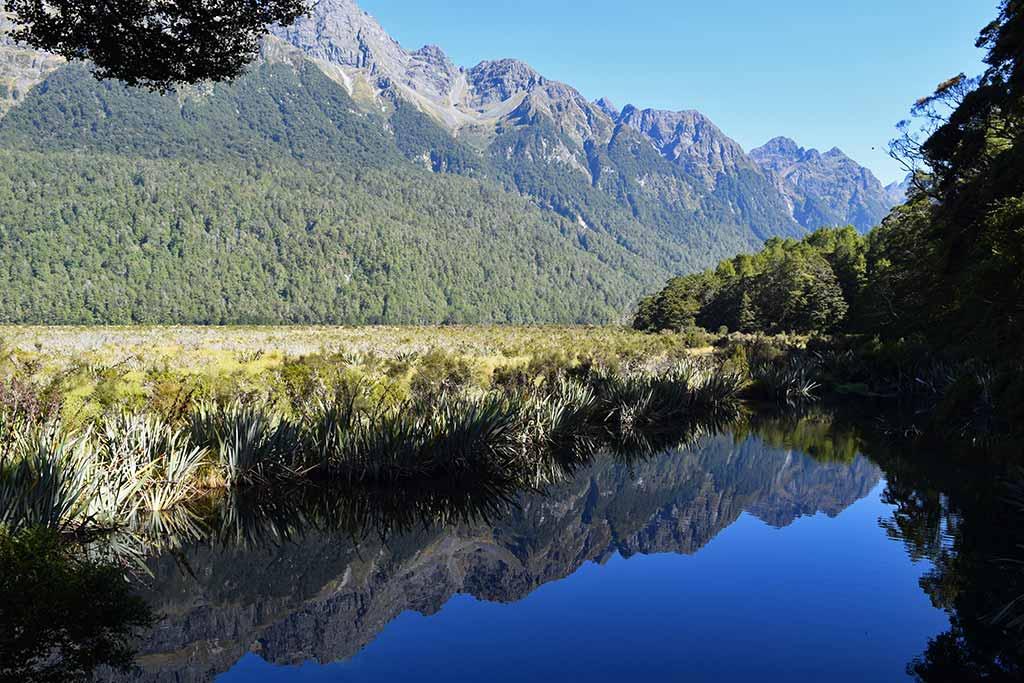 Mirror Lakes, route Te Anau Milford Sound
